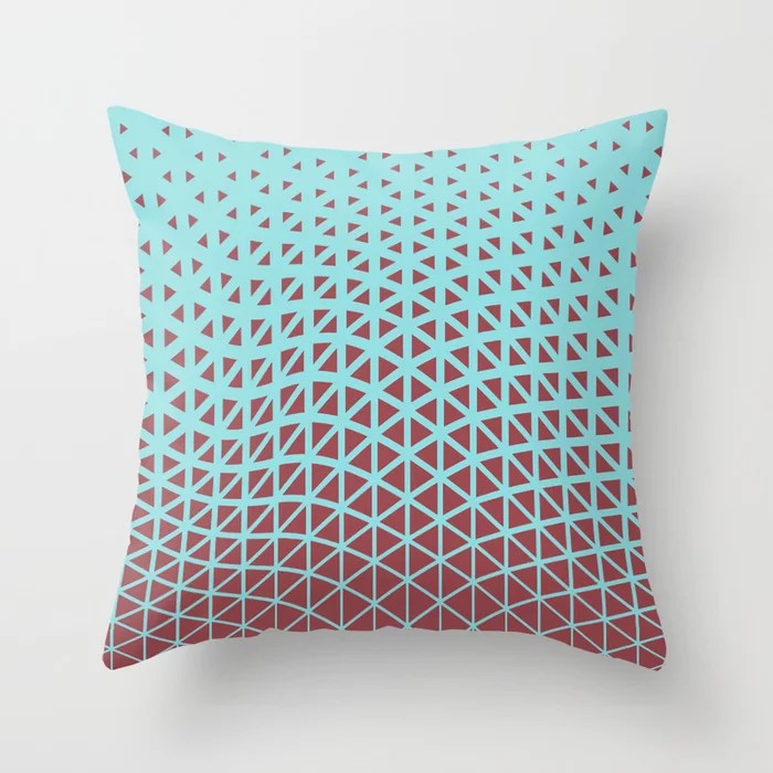 Red and Pastel Blue Geometric Triangle Pattern 2021 Color of the Year Passionate & Breezy Aqua Throw Pillow