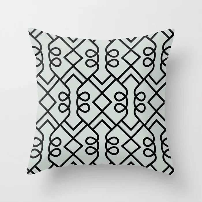 Pastel Green and Black Diamond Loop Pattern Pairs Behr 2022 Color of the Year Breezeway MQ3-21 Throw Pillow. 2022 color scheme, trending interior design hue.