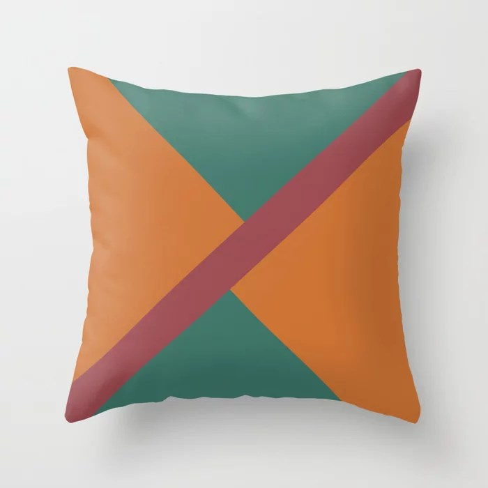 Red Orange Green Minimal Thin Angled Line Pattern 2021 Color of the Year Passionate and Accent Shade Throw Pillow