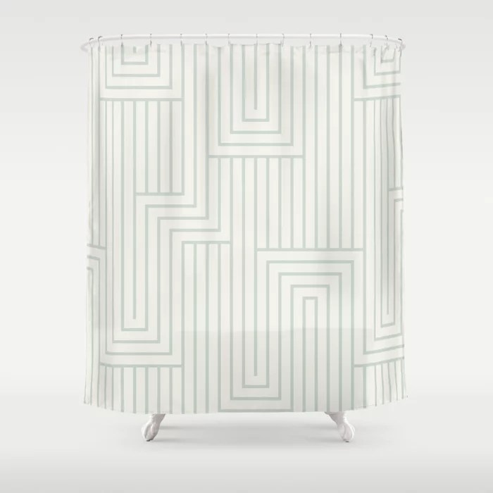 Pastel Green and Cream Art Deco Pattern 2 Pairs Behr 2022 Color of the Year Breezeway MQ3-21 Shower Curtain. 2022 color trend