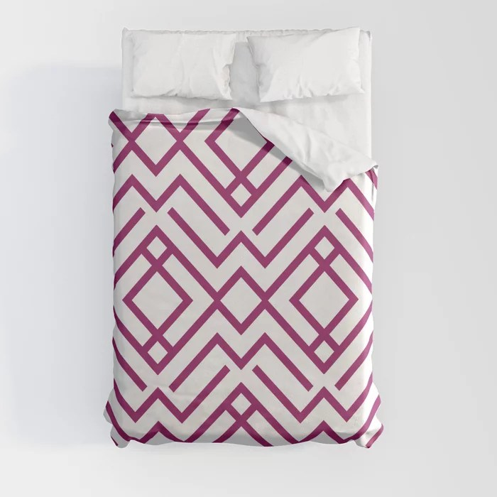 Magenta and White Chevron Stripe Pattern - Colour of the Year 2022 Orchid Flower 150-38-31 Duvet Cover - color for 2022