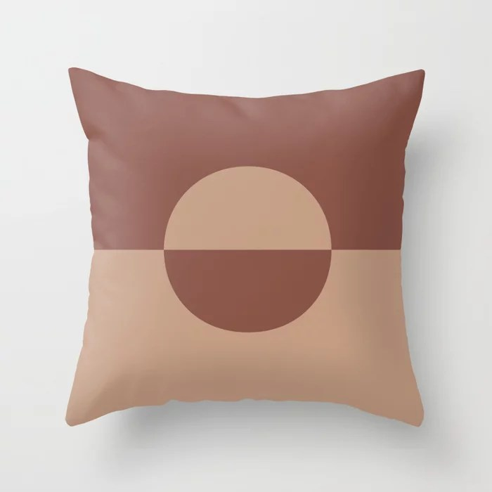 Sand Storm Beige Dark Reddish Brown Circle Design Behr 2021 Color of the Year Canyon Dusk Spice Throw Pillow