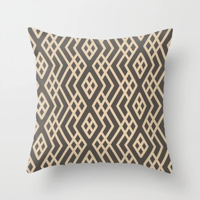 Brown And Buff Beige Abstract Shape Pattern 3 V2 Throw Pillow Matches Sherwin Williams Paints 2021 Color of the Year Urbane Bronze and Ivoire