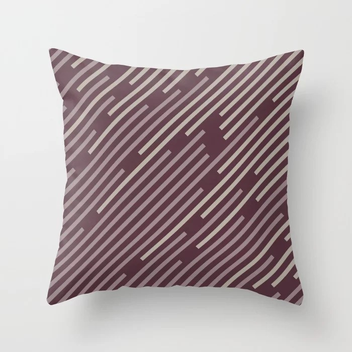 Purple Pink-Purple Taupe Gray Stripe Pattern Throw Pillows inspired by and pairs to (matches / coordinates with) Graham and Brown 2021 Color of the Year Epoch and Accent Shades