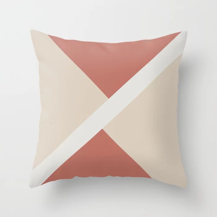 Beige White Dark Peach Stripe Offset Shape Design: Hues were inspired by and match (pair / coordinate with) 2021 Color of the Year Uptown Ecru & Accent Shade Throw Pillow