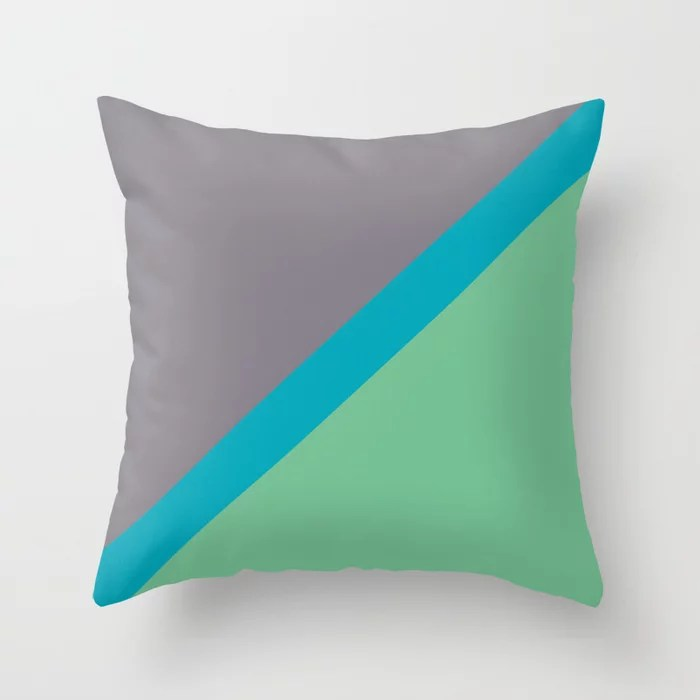 Blue-green Gray Green Diagonal Stripe Pattern 2021 Color of the Year AI Aqua 098-59-30 Throw Pillow