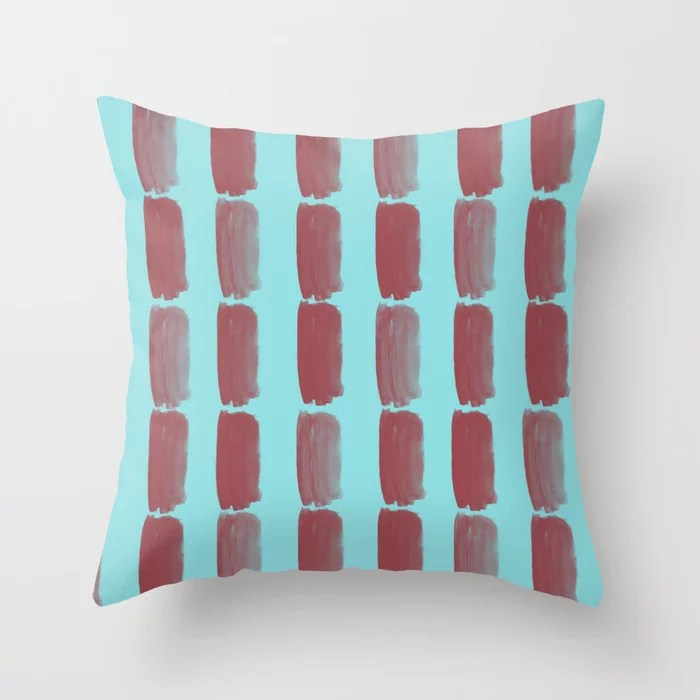 Red and Pastel Blue Grid Brushstroke Pattern 2021 Color of the Year Passionate & Breezy Aqua Throw Pillow