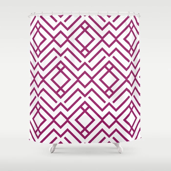 Magenta and White Chevron Stripe Pattern - Colour of the Year 2022 Orchid Flower 150-38-31 Shower Curtain - 2022 colour trends interior decorating fuchsia - purple - pink