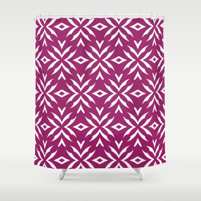 Magenta and White Abstract Flower Pattern - Colour of the Year 2022 Orchid Flower 150-38-31 Shower Curtain - 2022 colour trends interior decorating fuchsia - purple - pink