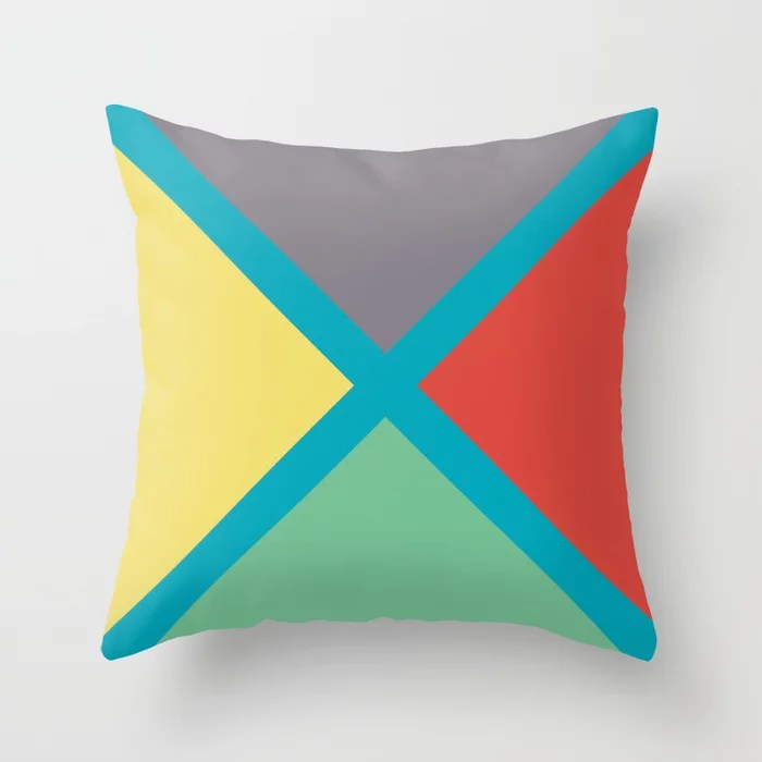 Blue-Green Yellow Red Gray Diagonal Stripe Pattern 2021 Color of the Year AI Aqua 098-59-30 Throw Pillow