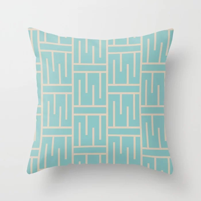Aqua and Beige Minimal Line Art Pattern 3 2021 Color of the Year Aqua Fiesta and Sourdough Throw Pillow