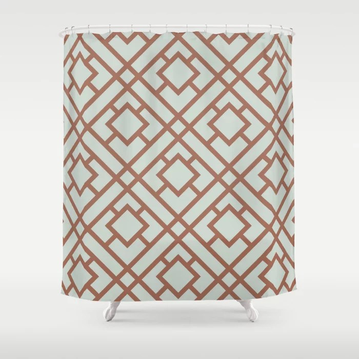 Mint Green and Terracotta Tessellation Pattern 24 Behr 2022 Color of the Year Breezeway MQ3-21 Shower Curtain. 2022 color trend
