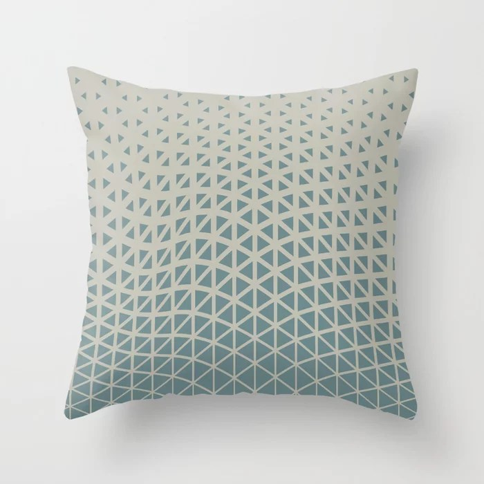Muted Aqua and Tan Gradient Wave Pattern 2021 Color of the Year Aegean Teal and Winterwood Throw Pillow