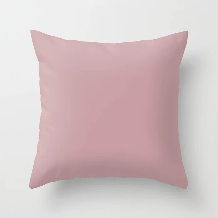 Pastel Opal Pink Purple Solid Color Pairs To Sherwin Williams Rose Embroidery SW 6297 Throw Pillow