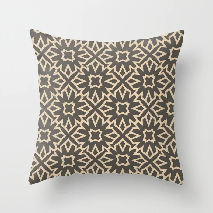 Brown and Tan Line Art Pattern 5 Flower 2021 Color of the Year Urbane Bronze and Ivoire Throw Pillow