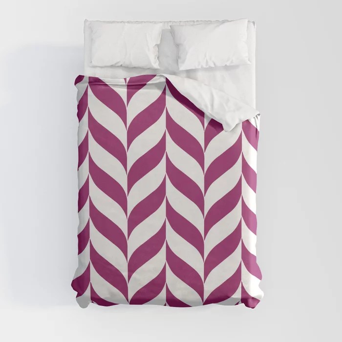 Magenta and White Pretty Herringbone Pattern - Colour of the Year 2022 Orchid Flower 150-38-31 Duvet Cover - color for 2022