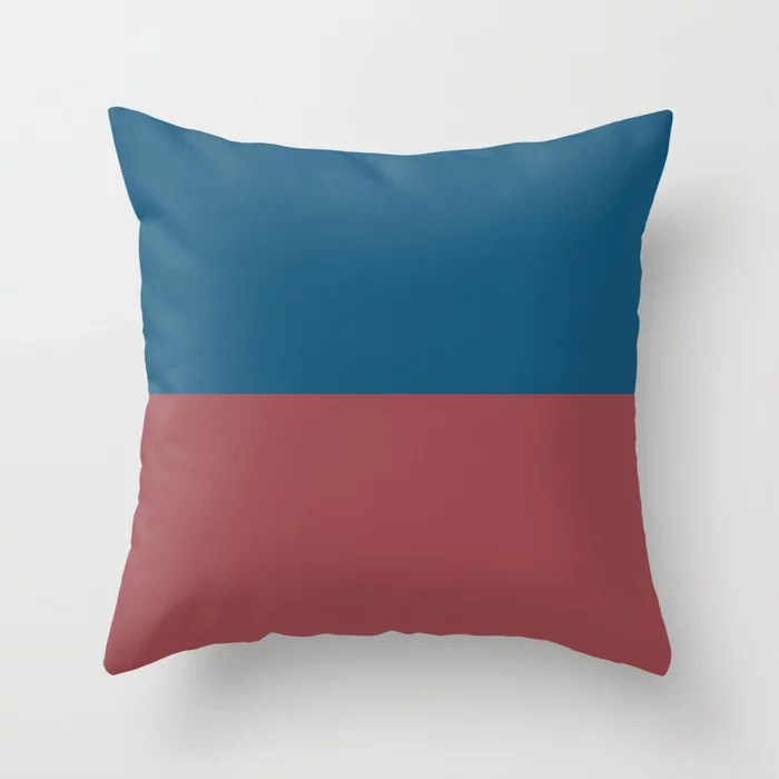 Red Dark Blue Minimal Solid Color Line Pattern 2021 Color of the Year Passionate and Long Horizon Throw Pillow