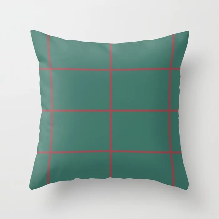 Red and Dark Green Abstract Check Line Pattern Pairs HGTV 2021 Color of the Year Passionate Throw Pillow