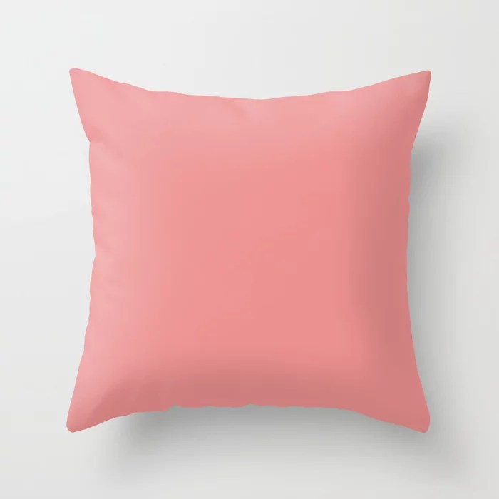 Rosy Dark Pastel Pink Peach Solid Color - All Colour - Single Shade Pairs w/ Dishy Coral SW 6598 Throw Pillow