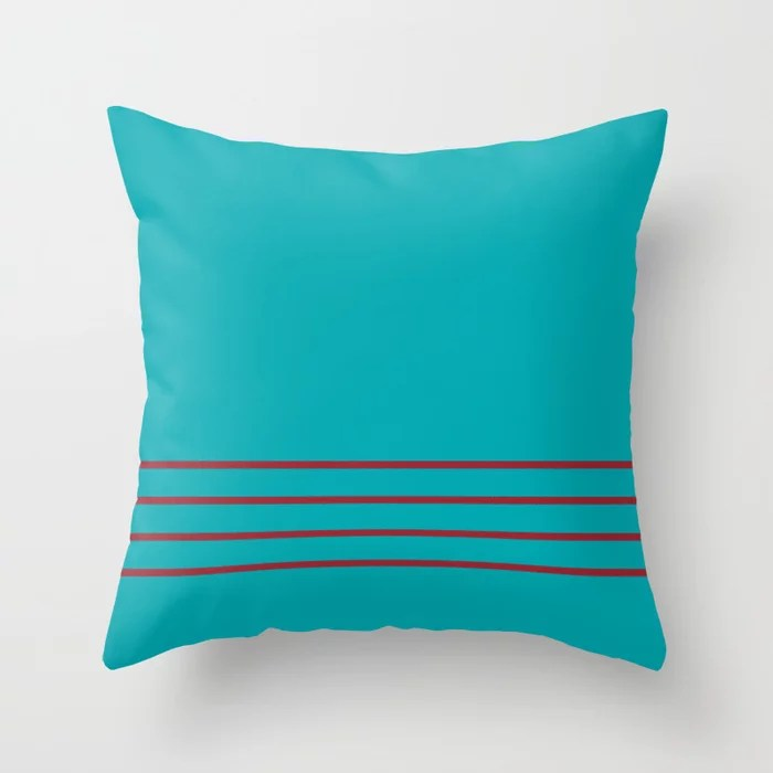 Aqua and Red Thin 4 Stripe Pattern 2021 Color of the Year Satin Paprika and Vintage Teal Throw Pillow