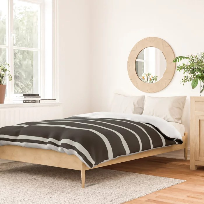 Pastel Green and Black Horizontal Line Pattern Pairs Behr 2022 Color of the Year Breezeway MQ3-21 Duvet Cover. 2022 colour trend