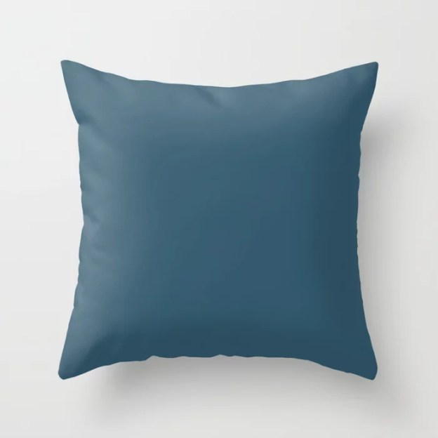 Sherwin Williams Trending Colors of 2019 From Shapeshifter Palette: Endless Sea Blue SW 9150 Throw Pillows and Outdoor Patio Pillows