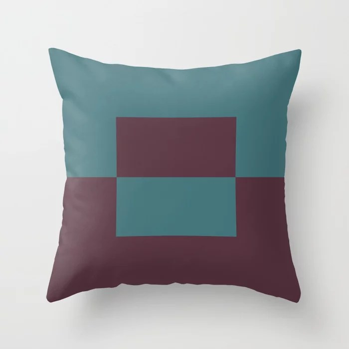 Deep Purple Aqua Minimal Square Design 2 Throw Pillows inspired by and pairs to (matches / coordinates with) Graham and Brown 2021 Color of the Year Epoch and Whale Tail