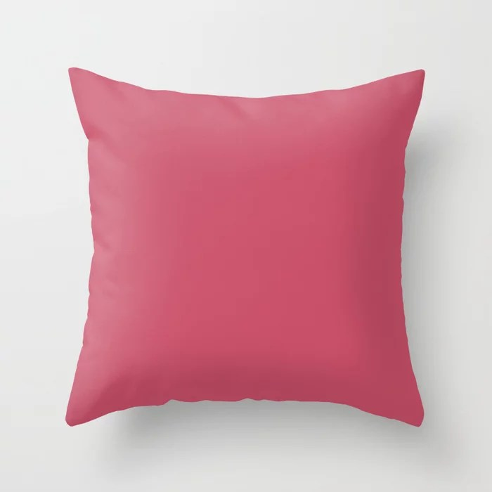 Sherwin Williams Trending Colors of 2019 Eros Pink (Bold, Bright Hot Pink) SW 6860 Solid Color Throw Pillow