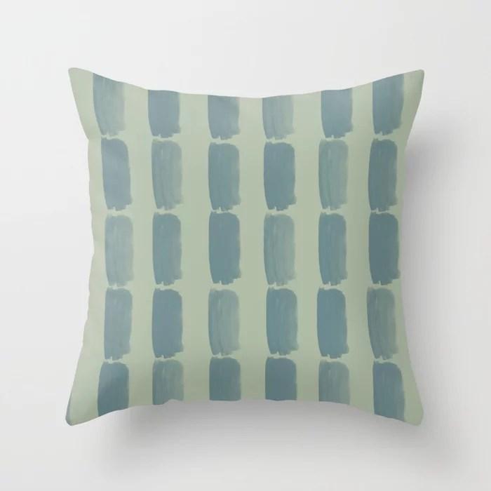 Blue-Green Green Minimal Grid Brushstroke Pattern 2021 Color of the Year Aegean Teal Salisbury Green Throw Pillow
