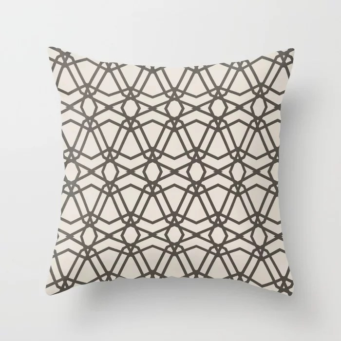Brown and Cream Line Geometric Pattern Chains Throw Pillows match and coordinate with Sherwin Williams Paints 2021 Color of the Year Urbane Bronze and Shoji White