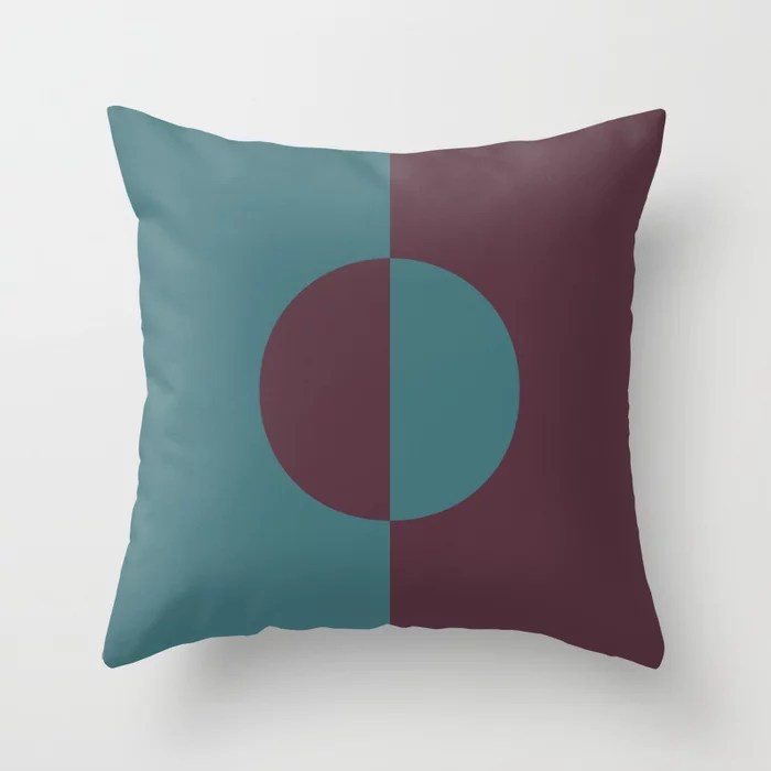 Deep Purple Aqua Minimal Circle Design Throw Pillows inspired by and pairs to (matches / coordinates with) Graham and Brown 2021 Color of the Year Epoch and Whale Tail