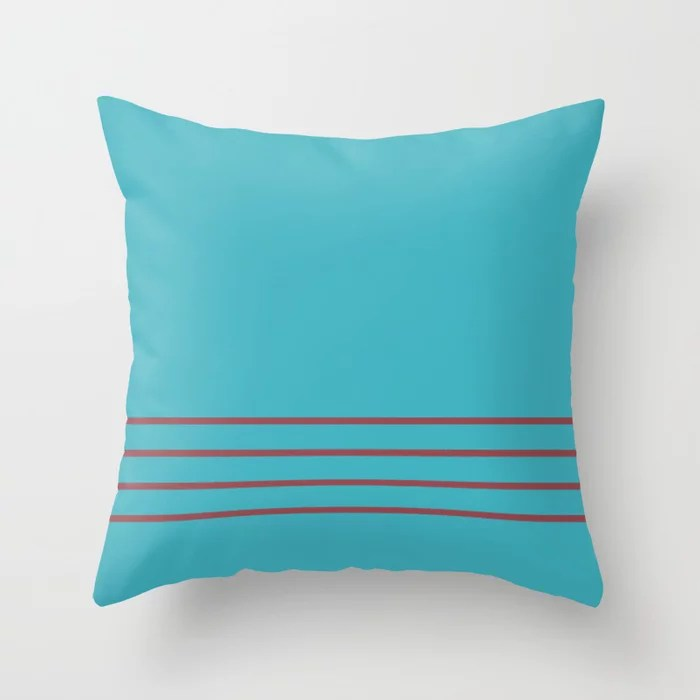 Red and Aqua Minimal Thin Line Pattern 2021 Color of the Year Passionate and September Skies Throw Pillow