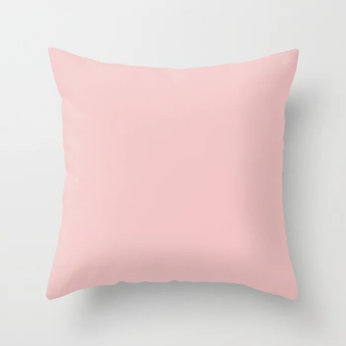 Rosy Pink Cheeks - Pastel Pink Solid Color - All Colour - Single Shade Pairs w/ Bella Pink SW 6596 Throw Pillow