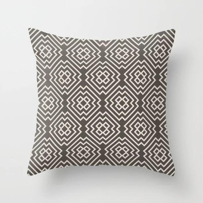 Dark Brown Cream Ornamental Shape Pattern 6 2021 Color of the Year Urbane Bronze and Shoji White Throw Pillow