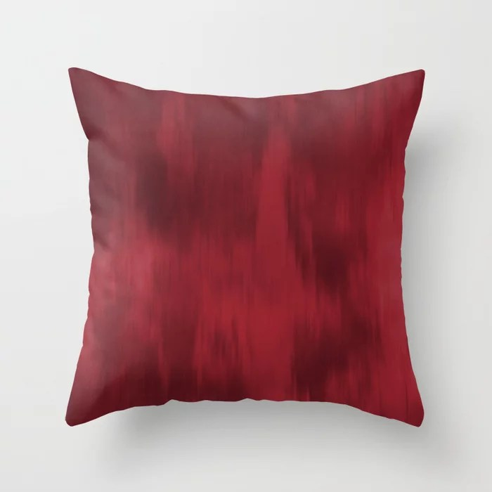 Red Fusion Watercolor Blended Gradient 2021 Color of the Year Satin Paprika Throw Pillow