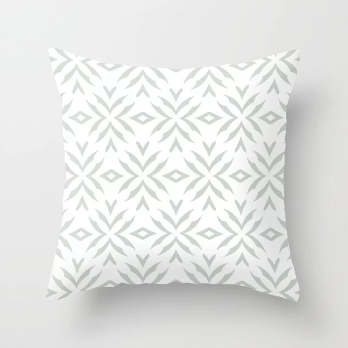 Pastel Green and White Abstract Flower Pattern Pairs Behr 2022 Color of the Year Breezeway MQ3-21 Throw Pillow. 2022 color scheme, trending interior design hue.