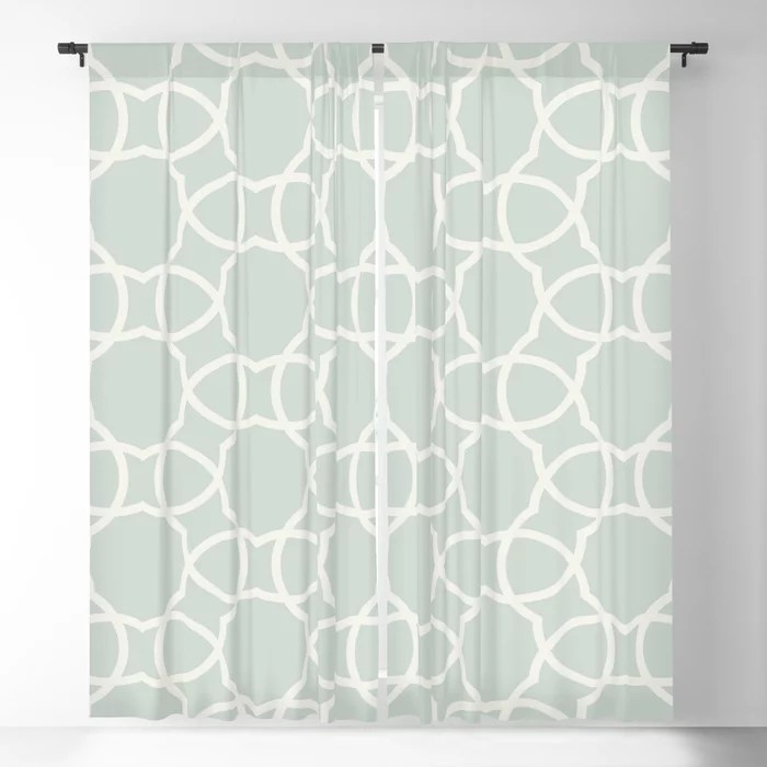 Pastel Green and Cream Petal Tile Pattern Pairs Behr 2022 Color of the Year Breezeway MQ3-21 Blackout Curtain. Color for 2022
