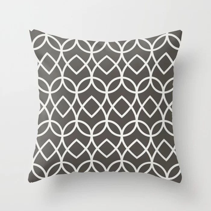 Brown and White Geometric Line Pattern Teardrop Throw Pillows Match and coordinate with Sherwin Williams Paints 2021 Color of the Year Urbane Bronze Extra White