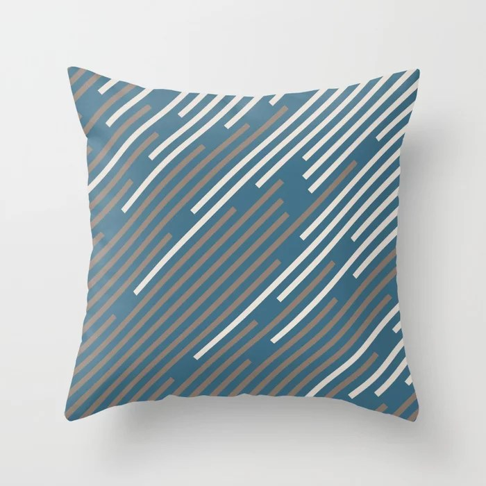 Dark Blue Creamy Off White Mid-tone Brown Stripes 2021 Color of The Year Canyon Dusk Accent Shades Throw Pillow