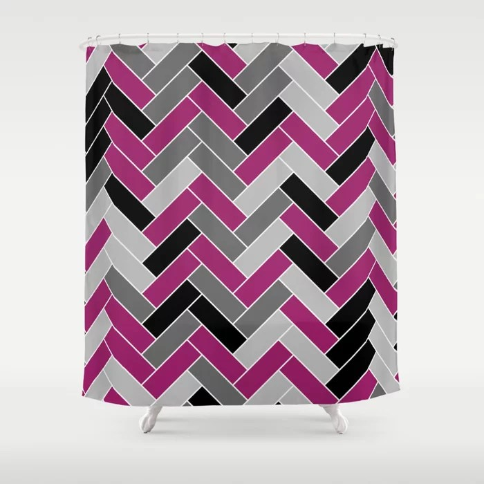 Magenta Gray Black and White Herringbone Pattern - Colour of the Year 2022 Orchid Flower 150-38-31 Shower Curtain - 2022 colour trends interior decorating fuchsia - purple - pink