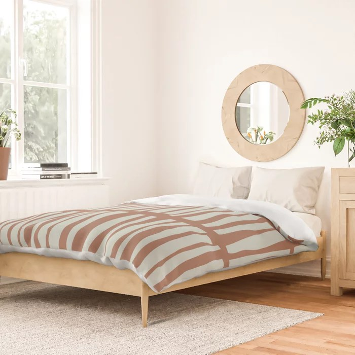 Mint Green and Terracotta Stripe Line Pattern Behr 2022 Color of the Year Breezeway MQ3-21 Duvet Cover. Color forecast 2022