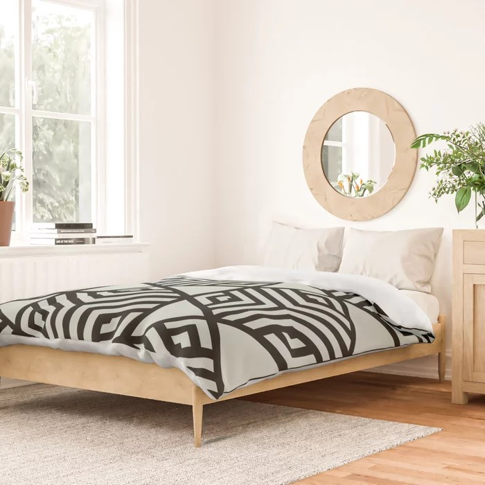 Pastel Green and Black Stripe Cube Tile Pattern Behr 2022 Color of the Year Breezeway MQ3-21 Duvet Cover. 2022 color trend