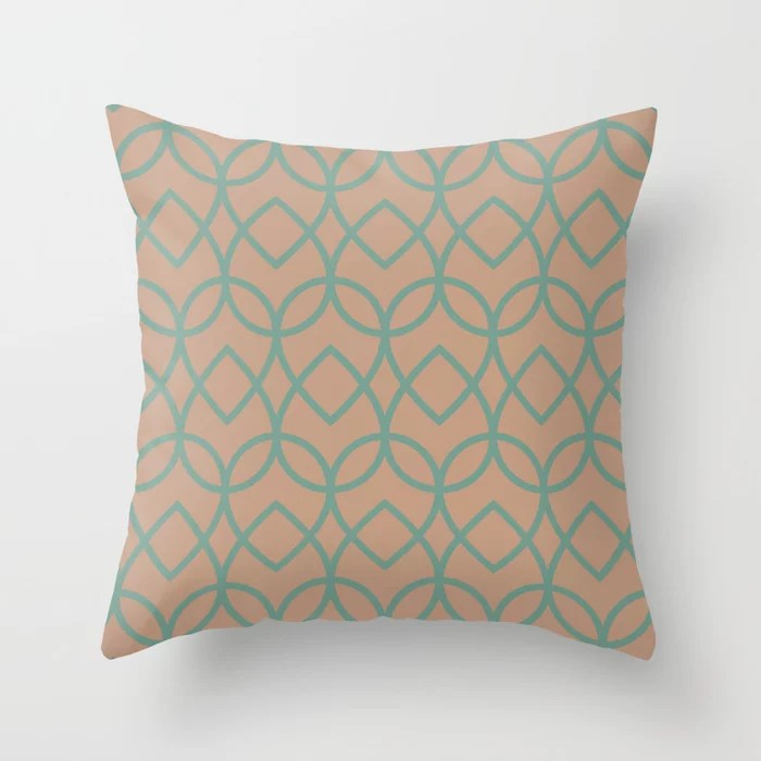 Sand Beige Dark Pastel Green Teardrop Pattern 2021 Color of the Year Canyon Dusk Regal View Throw Pillow