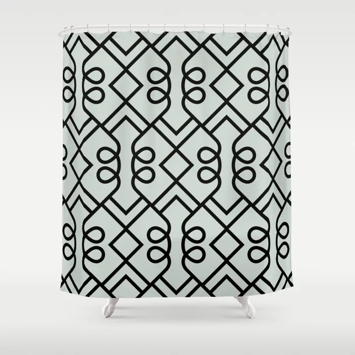 Pastel Green and Black Diamond Loop Pattern Pairs Behr 2022 Color of the Year Breezeway MQ3-21 Shower Curtain. 2022 color trend