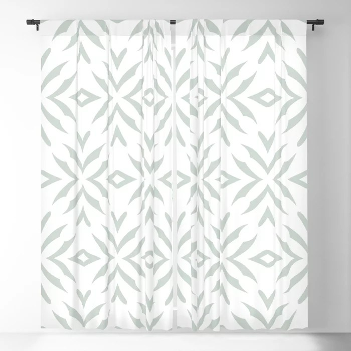 Pastel Green and White Abstract Flower Pattern Pairs Behr 2022 Color of the Year Breezeway MQ3-21 Blackout Curtain. Colors popular 2022