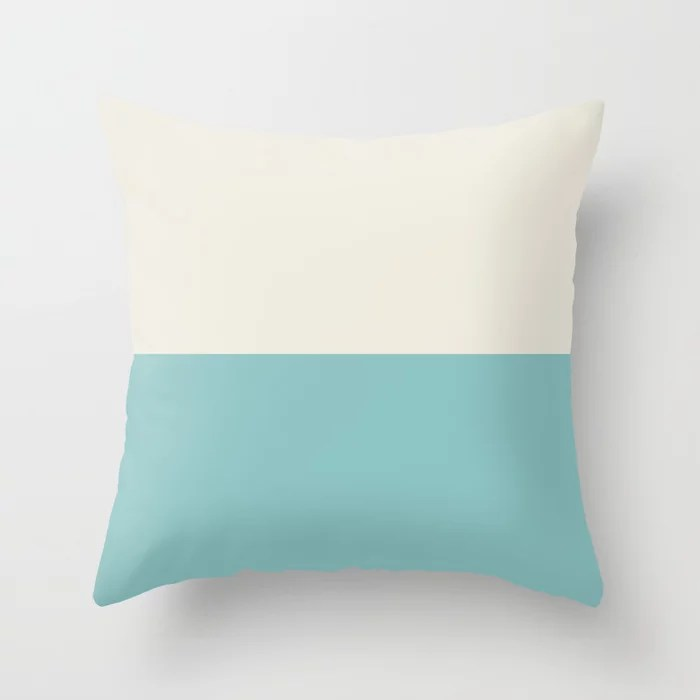 Aqua and Cream Horizontal Stripe Line Pattern 2021 Color of the Year Aqua Fiesta and Horseradish Throw Pillow