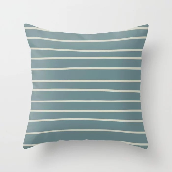 Blue-Green Beige Minimal Horizontal Line Pattern V2 2021 Color of the Year Aegean Teal Sweet Spring Throw Pillow