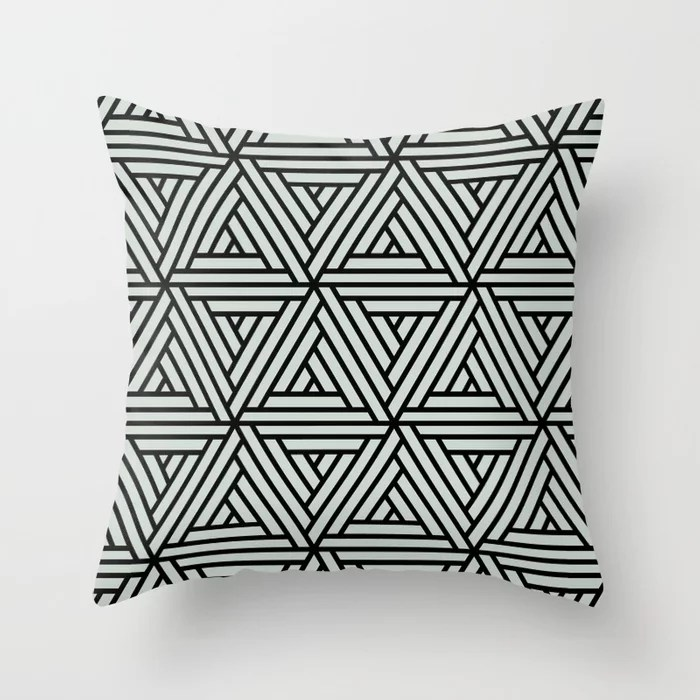 Pastel Green and Black Shape Mosaic Pattern 2 Pairs Behr 2022 Color of the Year Breezeway MQ3-21 Throw Pillow. 2022 color scheme, trending interior design hue.