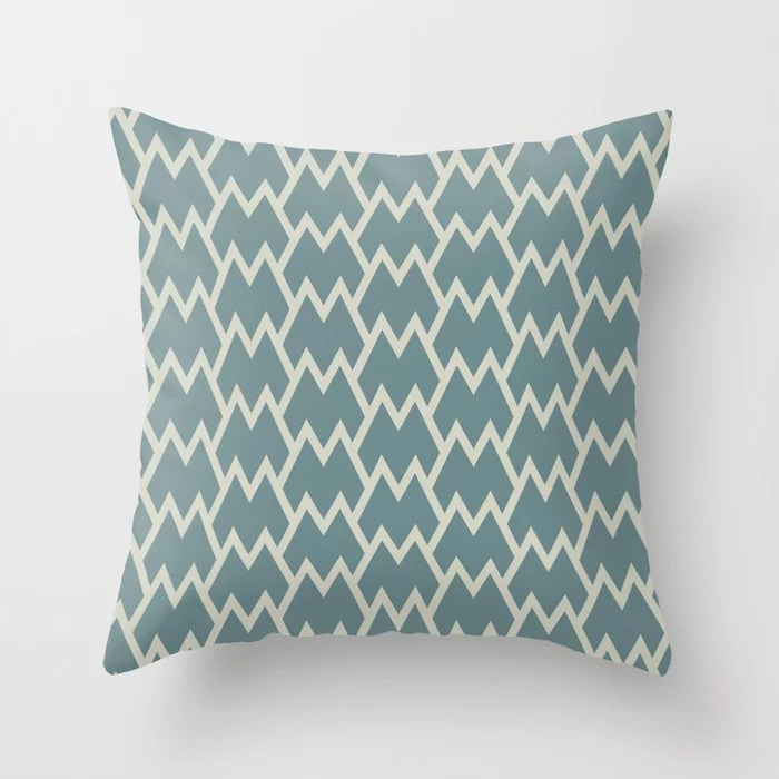 Soft Aqua Blue Beige Tessellation Line Pattern 18 2021 Color of the Year Aegean Teal Sweet Spring Throw Pillow