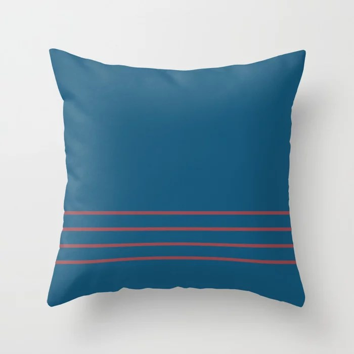 Red Dark Blue Minimal Thin Line Pattern 2021 Color of the Year Passionate and Long Horizon Throw Pillow